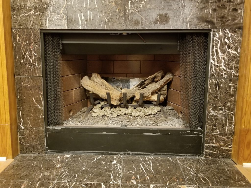 pre-fab fireplace picture from a home inspection